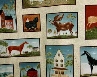 Folk art animals labels by warren Kimble for Quilting Treasures