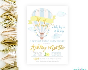 Hot Air Balloon Baby Shower Invitation, Up up and Away, Printable, Up and Away Shower Invitation, Blue Yellow Gold, Boy Baby Shower Invite