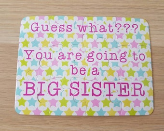 Pregnancy announcement reveal big brother big sister jigsaw. New baby announcement. Baby announcement. Personalised jigsaw for children.