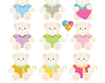 Digital Clipart - Teddy Bear for Scrapbooking, Invitations, Paper crafts, Cards Making, only FOR PERSONAL USE