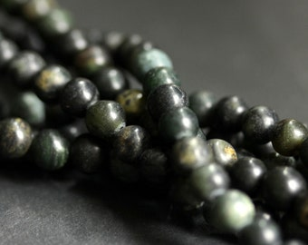 Dark Green Serpentine Beads.  5mm - 6mm Natural Serpentine Beads. Gemstone Beads. Round Beads. C- grade. (15 inch strand)