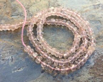 À facettes Quartz Rose Rondelles, perles en Quartz Rose naturel, pierres précieuses Rondelles, 4mm, 13 inch strand