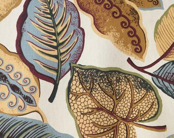 Blue Green Gold - Falling Leaves - Upholstery Fabric By The Yard