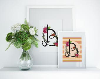 Letter B print, floral printable wall art, monogram print, initial nursery wall print, calligraphy print, digital watercolor letter