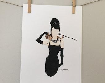 11x14 Audrey Hepburn watercolor art print