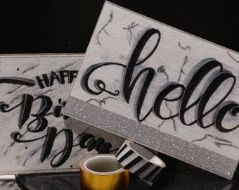 Hand lettered greeting postcards