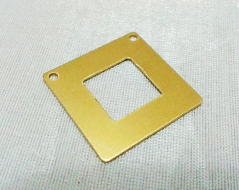10 Pcs Raw Brass 20 x 20 mm Square Findings Connector  ( 2 Hole -Thickness 0.45 mm ) 25 Gauge - inner bore 10 mm