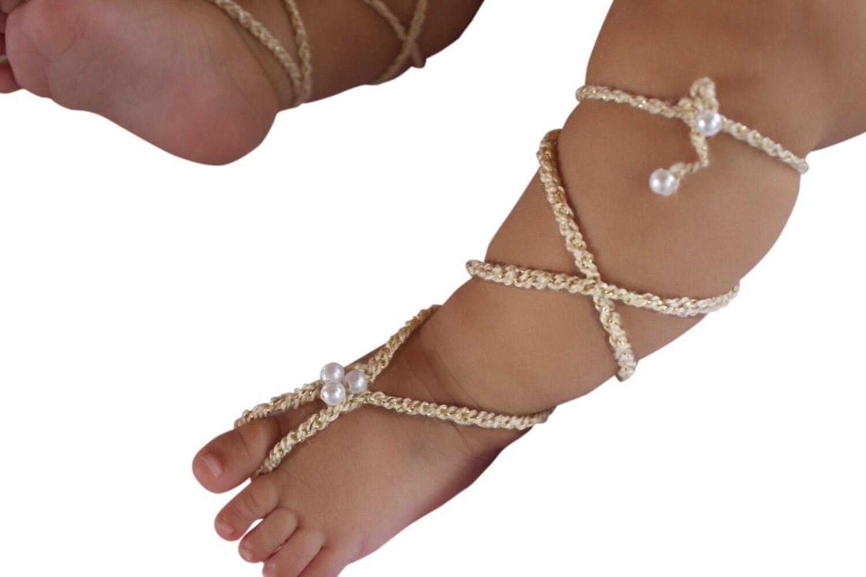 Gold Gladiator-Sandalen barfuß Sandalen häkeln Babysandalen