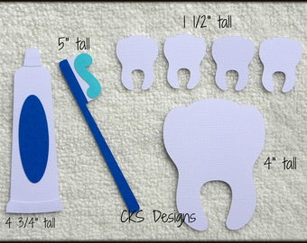 Die Cut Tooth Brush Paste & Teeth Dentist  Premade Paper Piecing Embellishment for Card Making Scrapbook or Paper Crafts