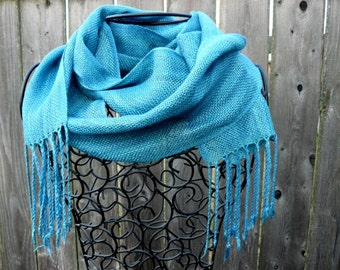 Handwoven Scarf Handspun silk Mermaid blue silk scarf