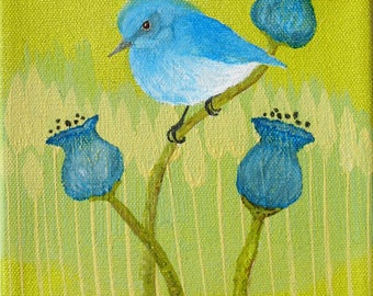 Original Acrylic Blue Bird Painting 6 by 6 inches stretched canvas