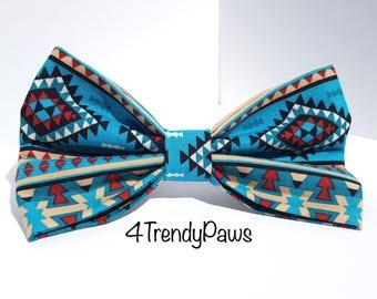 Southwest Bowtie, Aztec Bow, Western Bow, Boy Dog Bow, Girl Dog Bow, Small Dog Bow, Big Dog Bow, Dog Bowtie, Teal Blue Bow