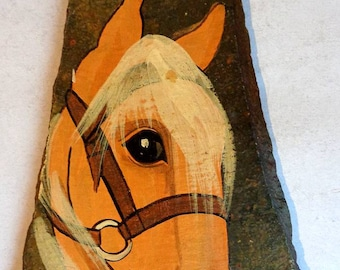 Hand Painted Horses Head On Real Slate Wall Plaque Collectable/Decorative/Equine/Animal