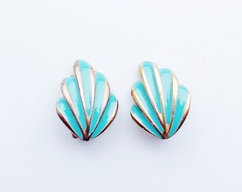 Turquoise Teal Earrings Enamel Enameled Vintage Clip Ons Gold Tone  Shell Shape Small Neat 1980s Style