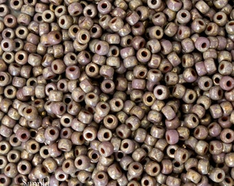 6/0 Matubo Opaque Violet Picasso Seed Beads - 15 grams - 3281 - 6/0 Matubo Violet Picasso -