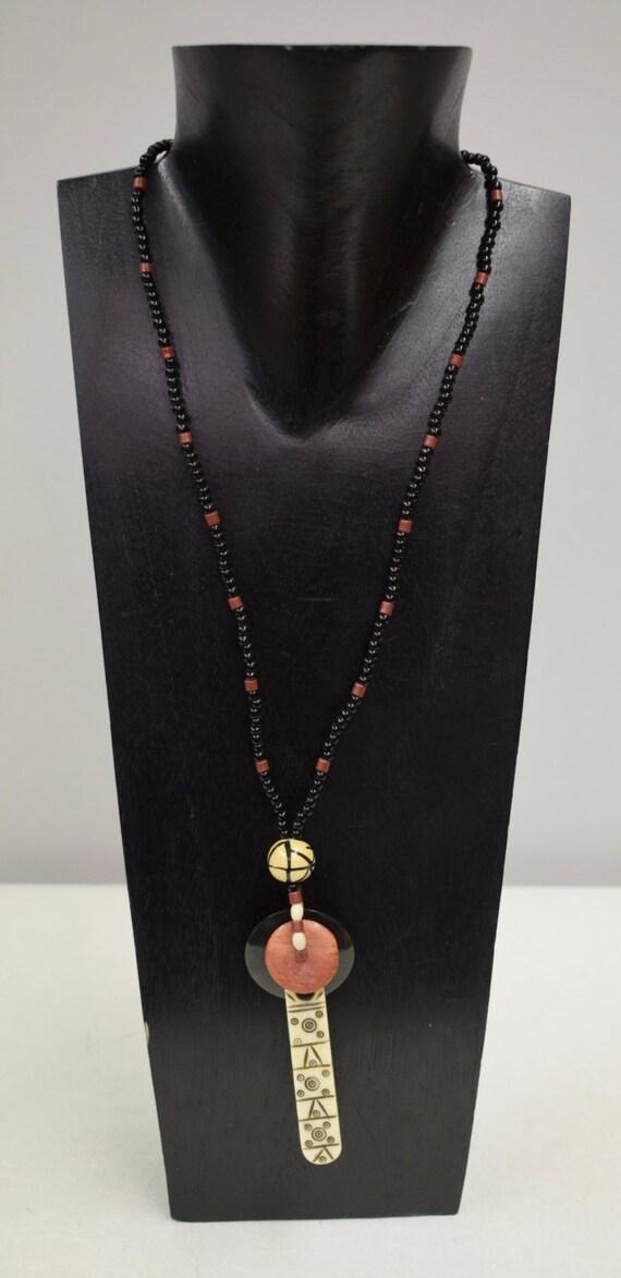 Necklace Vintage Necklace Etched Stick Pendant Coconut Wood Black Glass Handmade Porcelain Jewelry Pendant Necklace Unique  E
