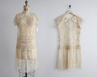 SALE | 1920s linen tambour lace dress / vintage 20s dress / 1920s wedding