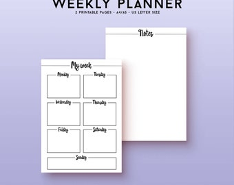 Printable weekly planner kit, printable planner inserts for a weekly schedule, weekly spread agenda, productivity planner