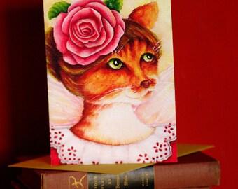 Ginger Cat Card, Rose Fairy Fantasy Flower Cat Art, 5x7 Blank Greeting Card