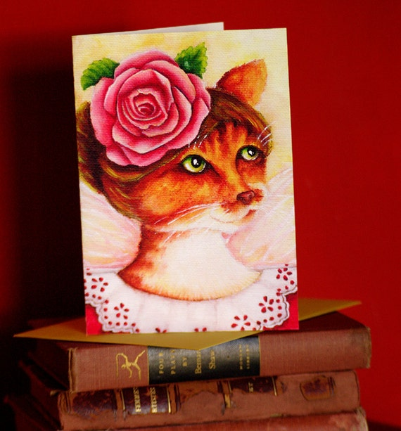 Ginger Cat Card, Rose Fairy Fantasy Flower Cat Art, 5x7 Blank Greeting Card