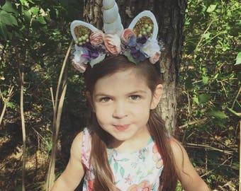 girl's unicorn headband, unicorn crown, unicorn headband, unicorn photo prop, unicorn birthday, unicorn party, unicorn flower crown