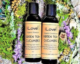 ORGANIC SHAMPOO & CONDITONER-No Sulfates/Alcohol/Parabens/Phthalates/Petroleum-Simply Clean Hair-Burlap Gift Bag-8oz-iLovebyCindy.com
