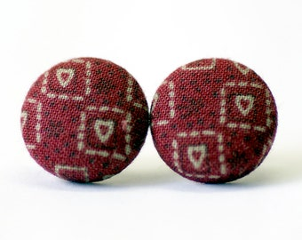 Maroon Hearts Silver Post Earrings (Set of 2) ~ Button Earrings ~ Fabric Button ~ Covered Button - 18mm (0.71 inch)