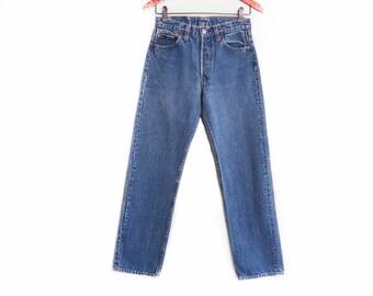 vintage levis denim / Levis 501 / high waist denim / 1980s Levis 501 Made in USA high waist boyfriend jeans 26