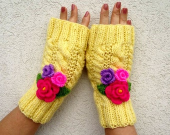 KNITTING PATTERN Mittens Gloves Knit Fingerless Gloves with Crochet Flowers Romantic - Camila Mittens - Gloves pdf Pattern Instant Download