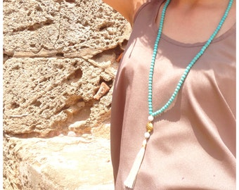 N601 - Long Turquoise Beaded Necklace - Cream Tassel - Long Tassel Necklace