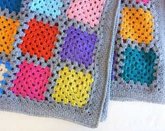 Crochet Granny Square Afghan Blanket