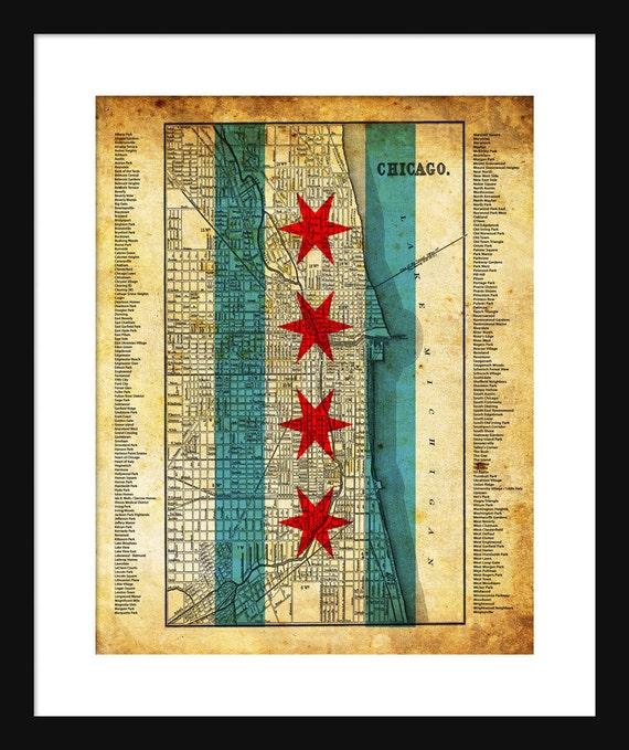Chicago Neighborhood Map Grunge Flag Print Poster