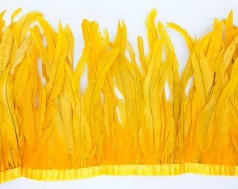 "Gold 10"" - 12"" FRINGE coque rooster tail  feathers"