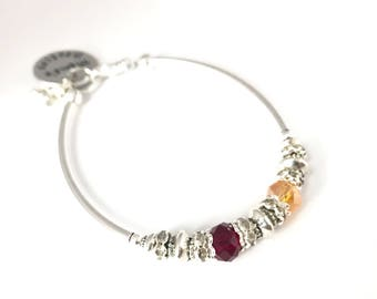 Mother's Birthstone Bracelet, Silver plated and Swarovski Mothers gift (B130b)