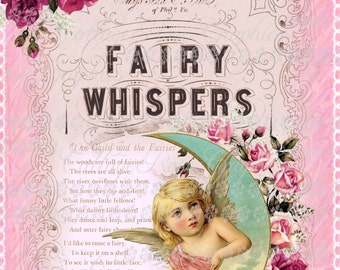 Pink FAIRY Whispers LARGE format digital image download vintage roses ivory Fairies Buy 3 Get one Free