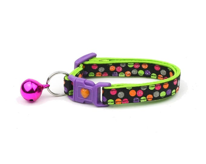 Colorful Cat Collar - Bright & Bold Polka Dots on Black - Small Cat / Kitten or Large Size
