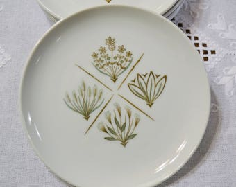 Vintage Garden Terrace Salad Plate Set of 5 Harmony House Flowers Leaves Green Brown Replacement PanchosPorch
