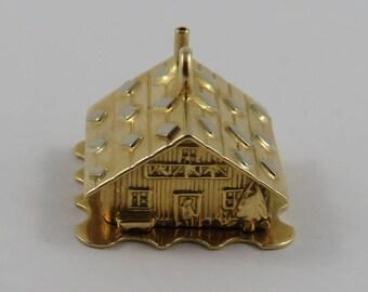 Cottage-Love Nest With Enamel Couple in Bed Inside Mechanical 18K Gold Vintage Charm For Bracelet