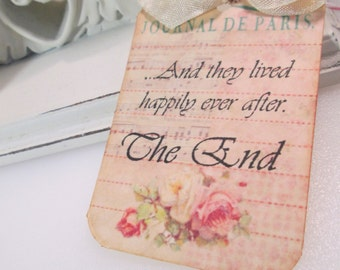 Wedding Favor Tag...Shabby Chic Shower Tags...And They Lived Happily Ever After Tags..Set of 6
