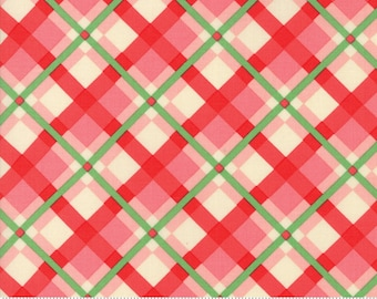 Swell Christmas by Urban Chiks for Moda, #31122-15, Red Pink Plaid, Christmas Ribbon, Christmas Fabric, Christmas in July, IN STOCK