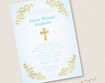 Blue and Gold Baptism Invitation Printable Christening First Communion Confirmation Holy Cross custom invite foil effect digital jpeg pdf