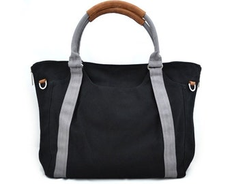 Mother s Day Big Sale HOLLY // Black with Grey Handle / Lined with Grey Stripes / 080 // Ship in 3 days // Diaper bag / Shoulder bag / Tote