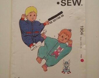 Baby jumpsuit jumper /long sleeve / loose /80s Vintage pattern / 1989 sewing pattern, Sizes small medium large x-large, Kwik Sew 1904