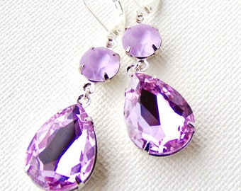 Pale lavender rhinestone drop earrings / pear / leverback / matte / frosted / wedding / gift for her / crystal earrings / teardrop earrings