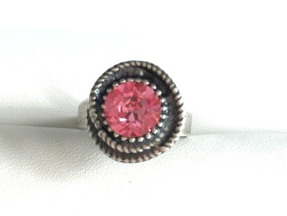 Swarovski Rose Ring, Rose Crystal Ring, Rose Crystal Rope Ring, Swarovski Rose Crystal Ring, Swarovski Pink Crystal Ring