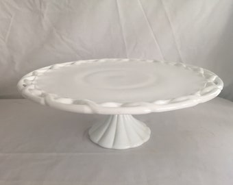 MEMORIAL HOLIDAY SALE - Vintage Milk Glass Cake Stand with Lace Rim / Wedding Cake Stand / Milk Glass Cake Stand