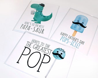 Funny Father's Day Cards - 5x7 Folded Card - Size When Opened Is 10x7 - Greeting Cards For Dad Fathers Day Dad Papa Popsicle Pop Dinosaur