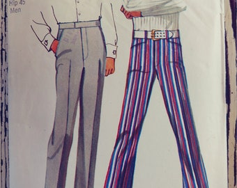 "Men's Jean-Cut Bell-Bottom Pants Sewing Pattern, Simplicity 9736, Size 39, Waist 39"", Hip 45"", Vintage 1971, Cut & Complete"