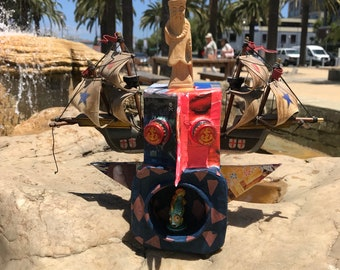 The Cap'n, a Wallhanging Sculpture, Made from Recycled and Repurposed Materials