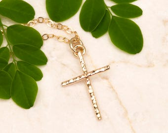 Delicate Cross Necklace, Hammered Cross, Petite 14K Gold Filled Cross Pendant, Dainty Cross Necklace, Religious Handmade Jewelry